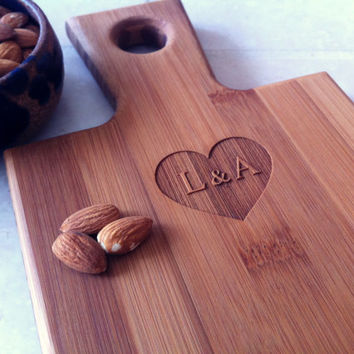 Personalized Breadboard, Custom Cutting Board, Valentine's Day Gift, Heart with Initials, Serving Board, Custom Wedding Shower Gift