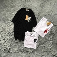 """""""Burberry"""" Unisex Casual Simple TB Letter Logo Couple Short Sleeve T-shirt Top Tee"""