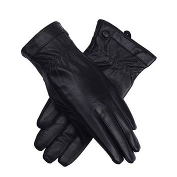 LYZA Men Women Genuine Leather Gloves  Winter Thick Warm Cycling Driving Windproof Mittens