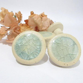 Ceramic Knobs, Turquoise Glass Knobs,  Door Knobs, Cabinet Knobs, Handmade Drawer Knobs, Recycled Glass,  Home Decor Supplies