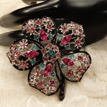 Gorgeous KJL (Kenneth Jay Lane) Shades of Pink and Turquoise Coloured Rhinestone Flower Stem  Brooch
