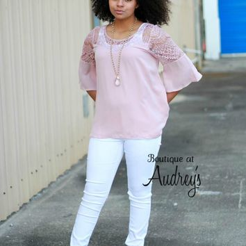 Blush Blouse with Sheer Lace Detail on Neckline and Shoulders