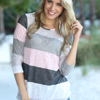 Ivory And Pink Color Block Top