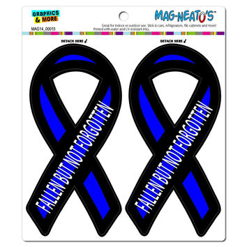 Fallen But Not Forgotten Thin Blue Line Support Ribbon - Police MAG-NEATO'S TM Car-Refrigerator Magnet Set