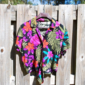 "Vintage Hawaiian Crop Tie Top, Oh so ""Saved By the Bell"" - Colorful Summer Mood, circa early 90s, Units brand, black, purple, green, teal"