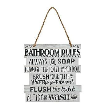 Bathroom Rules Hanging Wall Plaque | Kirklands