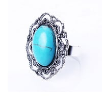 Casual Alloy Hollow Carved Turquoise Inlay Adjustable Ring