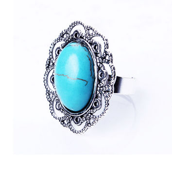 Streetstyle  Casual Alloy Hollow Carved Turquoise Inlay Adjustable Ring