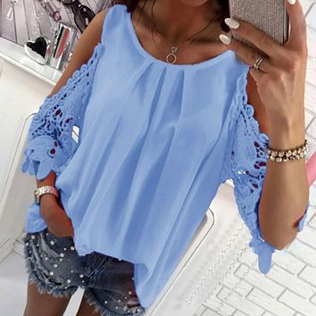 Summer Chiffon Women Blouses 2018 Casual Sexy Sun-top Half Sleeve Lace Patchwork Shirts Off Shoulder Tops Solid Plus Size GV381