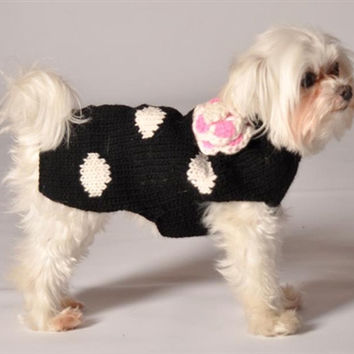 Chilly Dog Black Polka Dot Sweater