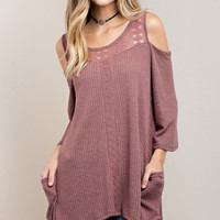 Pocketed Thermal Cold Shoulder Tunic