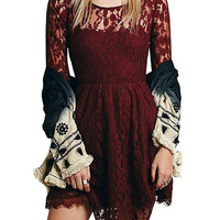 Burgundy Lace Leaf Skate Dress