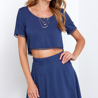 Lovely Com-Beau Denim Blue Two-Piece Dress