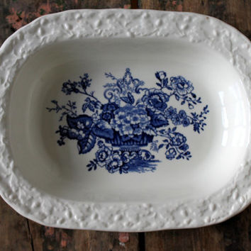 vintage mason's patent ironstone vegetable bowl // 'ascot on oak' // blue transferware // 1960s // english