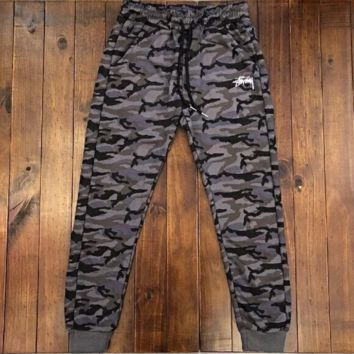 Stussy New fashion letter print camouflage couple sports leisure pants