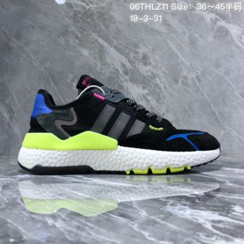 hcxx A1101 Adidas Nite Jogger 2019 EQT Boost Fashion Running Shoes Black Green Blue