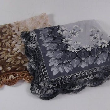 Embroidered Hankie Pair  Hand Embellished  Brown and Black