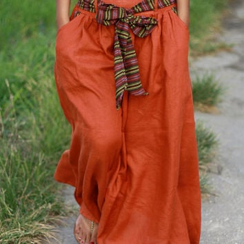 Dark Orange Maxi Skirt/ Long Skirt with sash and pockets/ Casual Linen Skirt