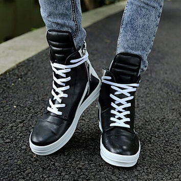 Men Hip-Hop Leather Boots So Cool Shoes