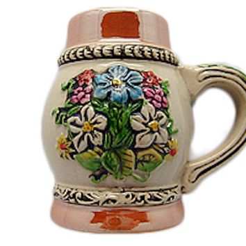 Ceramic Beer Stein Fridge Magnet German Flower