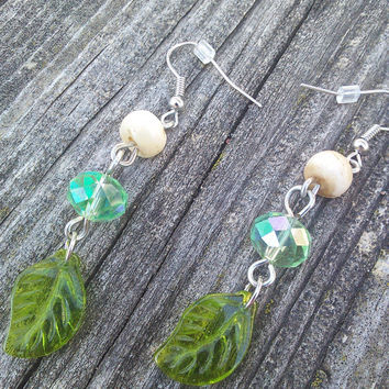 Buffalo Bone Earrings, Real Animal Bone Jewelry, Boho Earrings, Warrior Jewelry, Woodland Elf Cosplay, wiccan earrings, Green pagan earrings