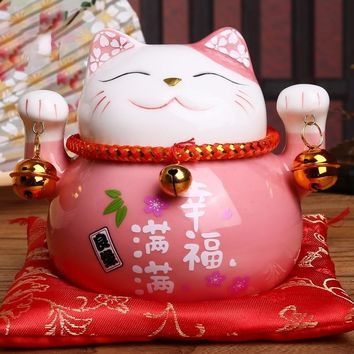 Maneki-Neko Porcelain Lucky Cat Piggy Bank - 6 Colors - 4.5in