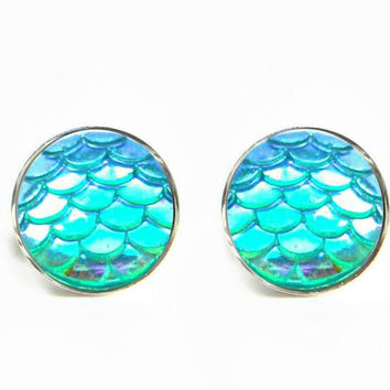 Dragon Skin Scales Iridescent Teal Stud Earrings / Stainless steel hypoallergenic