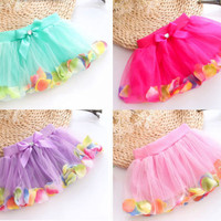 Cute Baby Kids Girls Bow Petals Tulle Skirt Princess Tutu Party Dress For 3-8Y