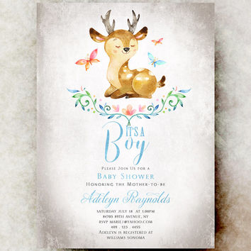 Deer Baby shower invitation boy - printable baby shower invitation, baby boy shower invitation, unique baby shower invitations