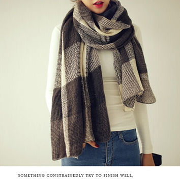 Ladies Winter Cashmere Plaid Couple Scarf [9572827535]