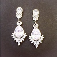18k White Gold Sunrise Earrings - Statement - Earrings