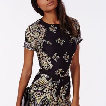 Missguided - Zulu Paisley Print Cap Sleeve Playsuit Black
