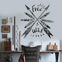 Vinyl Wall Decal Feathers Arrow Ethnic Decor Quote Art Room Stickers (ig3498)