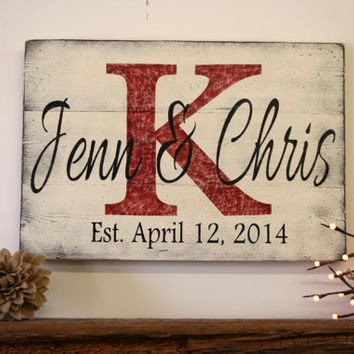 Personalized Name Sign Custom Name Sign Wedding Gift Bridal Shower Gift Wood Pallet Sign Distressed Wood Sign Monogram Established Date Sign