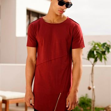Extended Essential Short Sleeve Long Tee  Kanye West Style Silky Long Tee men round neck t shirt summer casual hem Extended tees