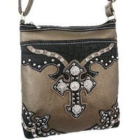 Rhinestone Studded Western Cross Body Purse Hipster Messenger Bag (Pewter)
