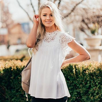 Kennedy Lace Front Blouse | Spring Lace Top