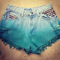 High Waist Denim Teal Ombre Shorts 28.5""