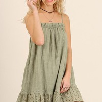 Sage Lace Trim Spaghetti Strap Dress