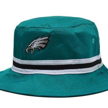 DCCKBE6 Philadelphia Eagles Full Leather Bucket Hats Green