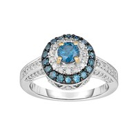 1 Carat T.W. Blue & White Diamond Sterling Silver & 10k Gold Over Silver Tiered Halo Ring