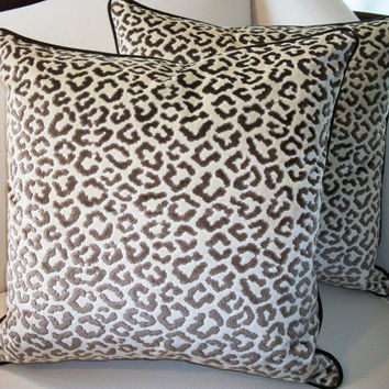 Pair Of Lee Jofa High End Leopard Velvet Pillows