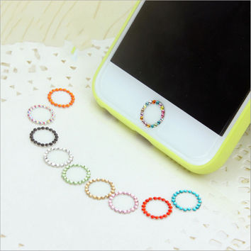 1Pcs Crystal Bling Rhinestone Diamond Home Button Sticker for iPhone Touch ID