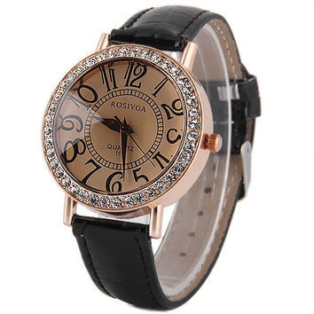 Rosivga 153 Female Quartz Watch Diamond Bezel Round Dial Leather Watchband