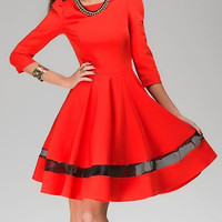 Round Collar Long Sleeve Spliced Dress