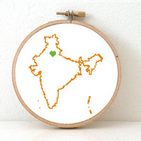 India map modern cross stitch pattern. India needlepoint with Delhi. Delhi map heart. Ancestry gift. Indian cross stitch