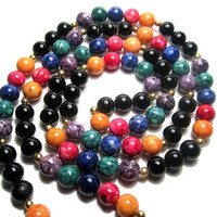 Rainbow and Black Dyed Fossil with 14k  30 by marymotherofpearls