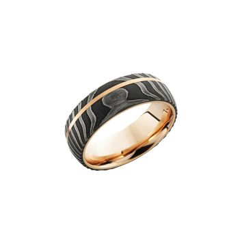 Damascus Steel and 14K Rose Gold Domed Band Ring