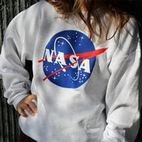 Autumn Fall New Casual Women Baseball Sportwear Gym Loose Baggy Top NASA  Letters Printed Crewneck Pullover Hoodie Sweatshirts