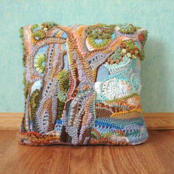 OOAK Crochet freeform ART pillowcase The Mediterranean landscape 1